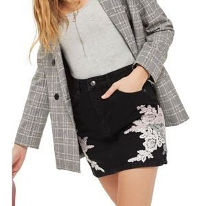 Top shop black denim skirt with embroidery